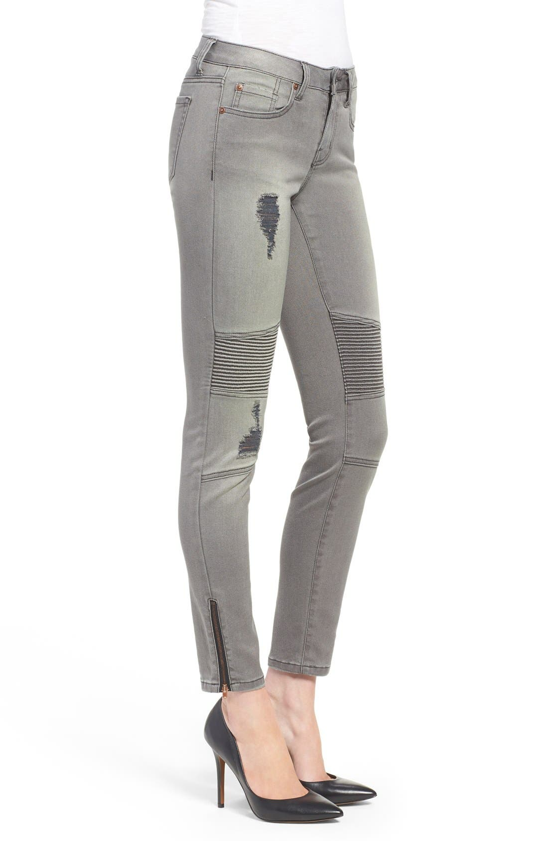 Alternate Image 3  - Dex Distressed Biker Skinny Jeans (Faded Grey)