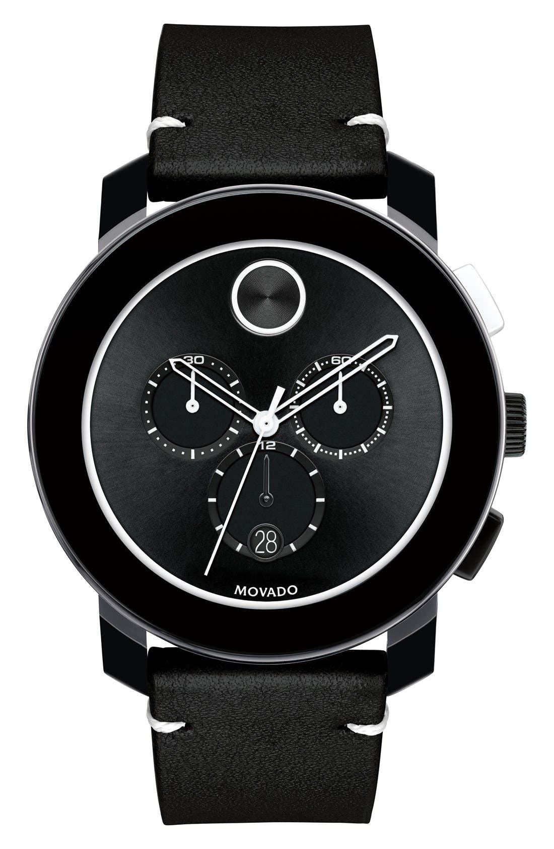 Movado 'Bold' Chronograph Leather Strap Watch, 42mm