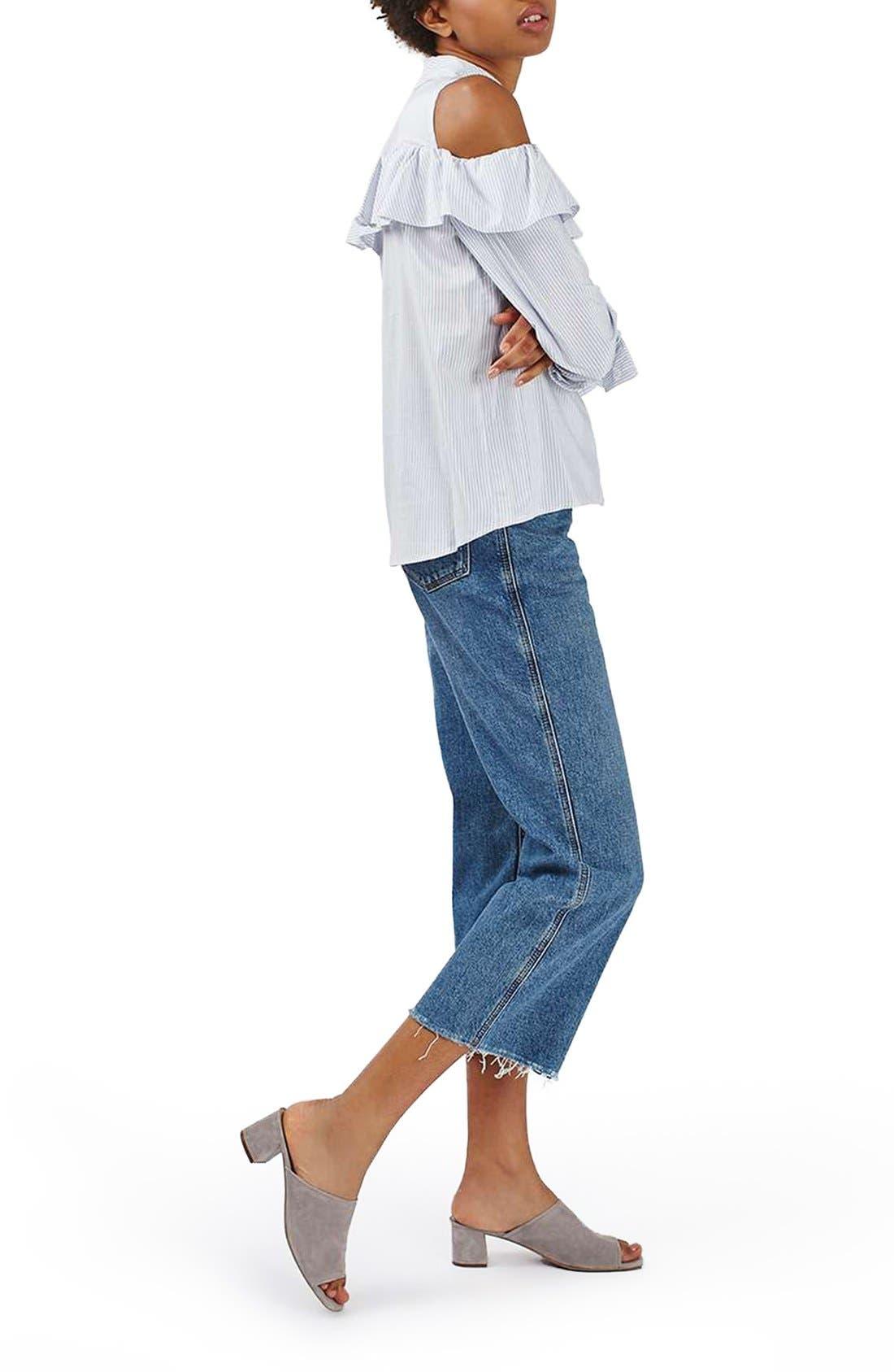 Alternate Image 2  - Topshop Stripe Ruffle Cold Shoulder Shirt
