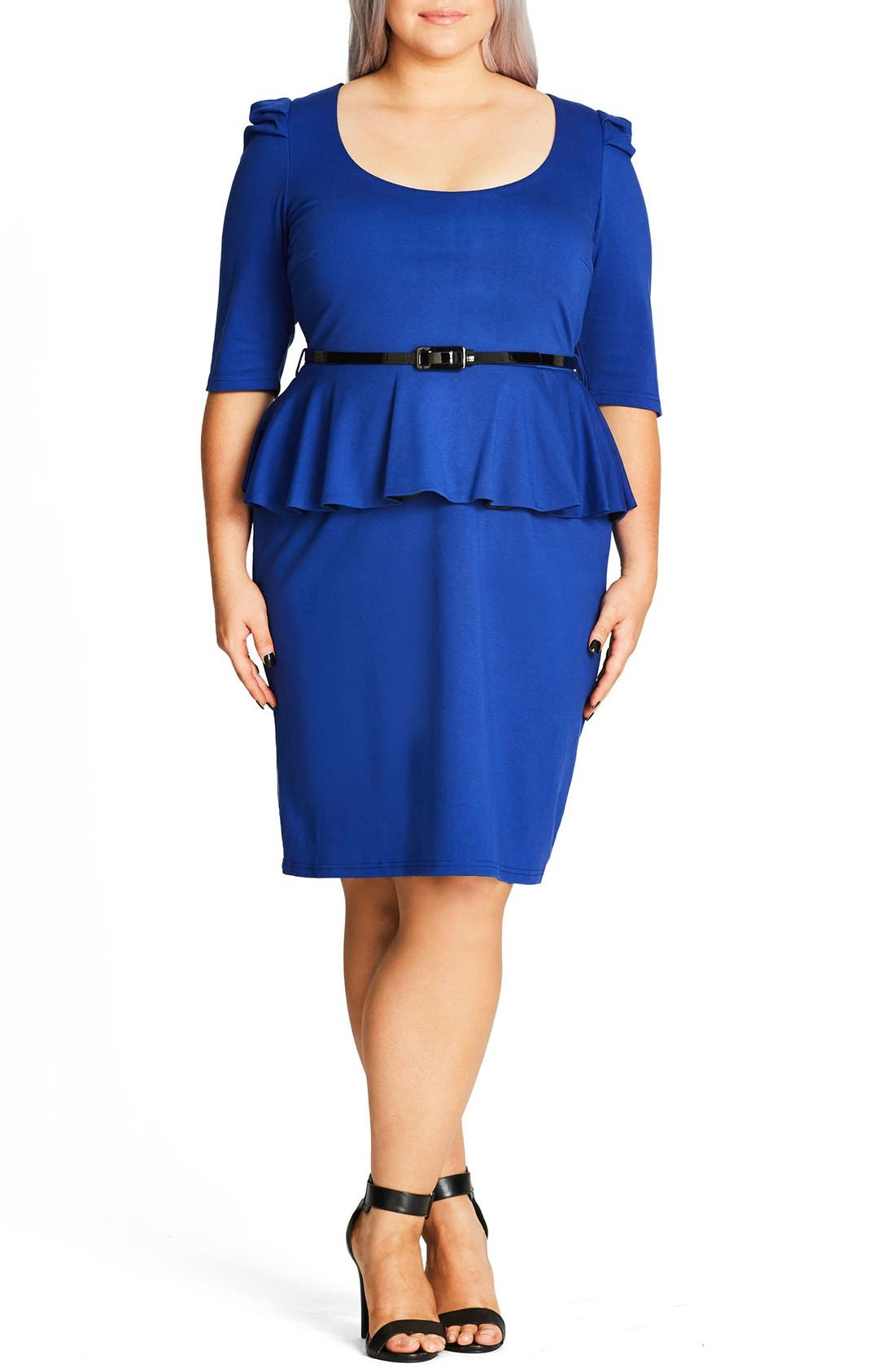 Alternate Image 1 Selected - City Chic Peplum Dress (Plus Size)