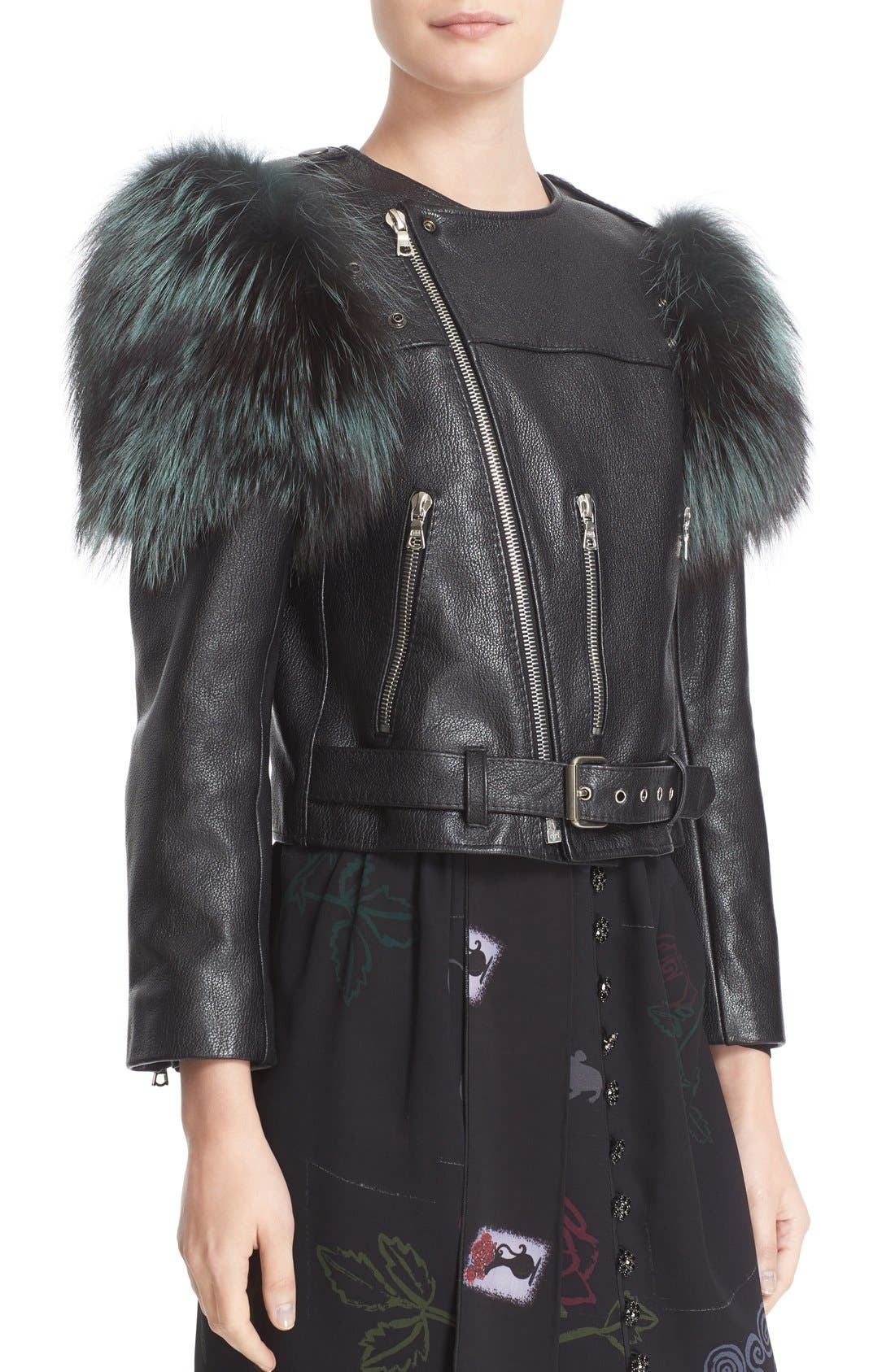 Alternate Image 6  - MARC JACOBS Leather Moto Jacket with Genuine Fox Fur Trim