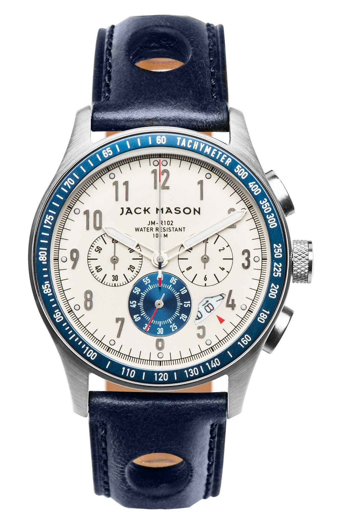 JACK MASON Chronograph Leather Strap Watch, 42mm