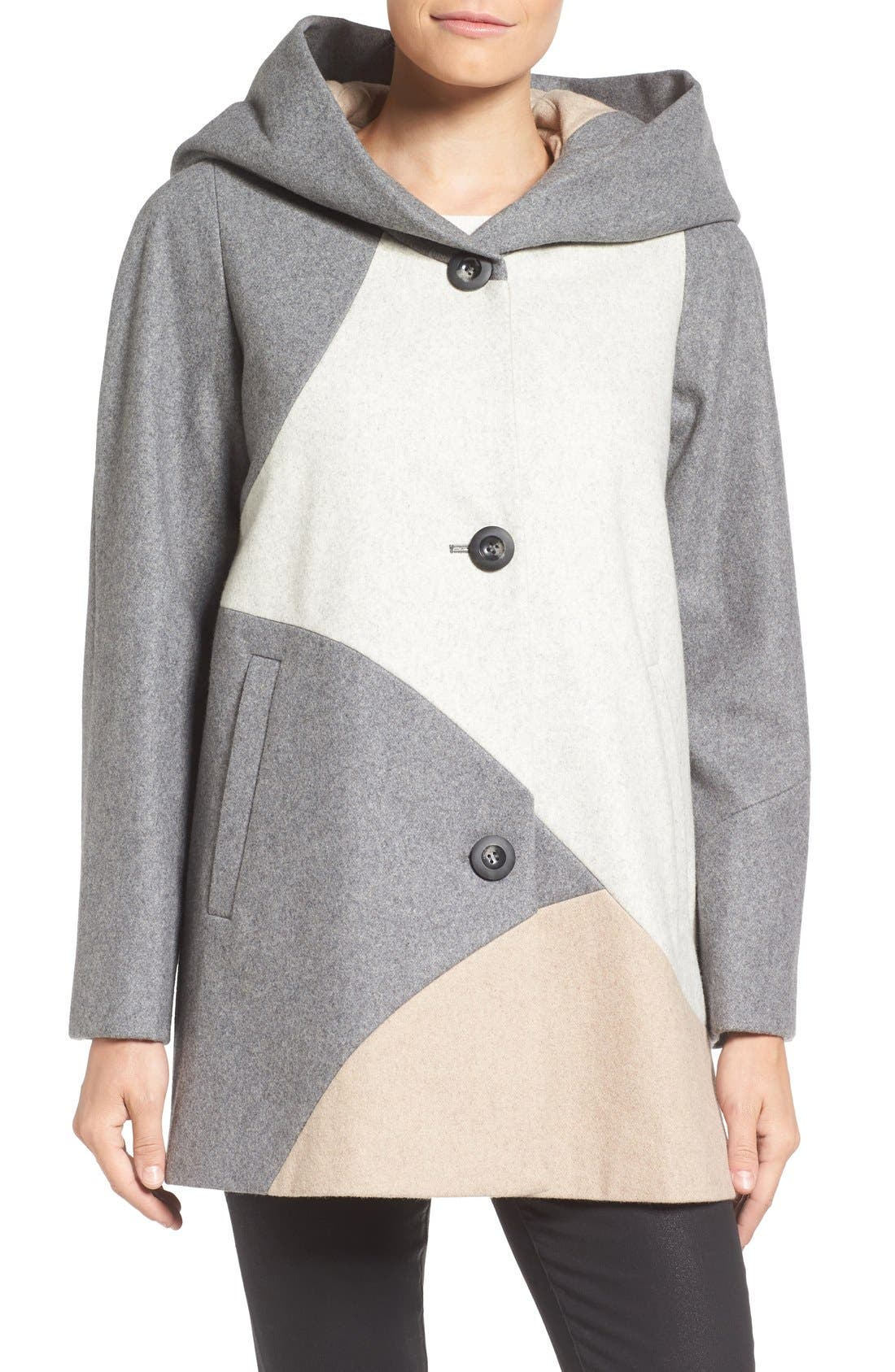 Alternate Image 4  - Gallery 'Puzzle' Wool Blend Hooded Colorblock Coat
