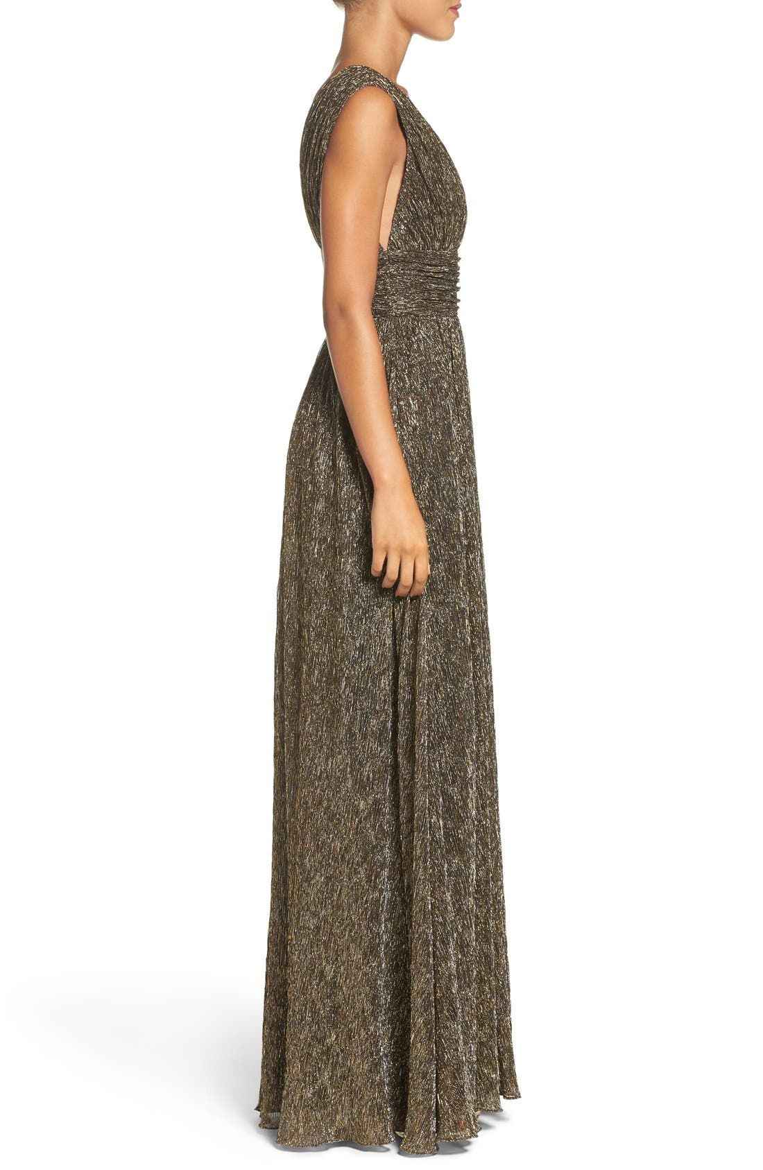 Alternate Image 4  - Aidan by Aidan Mattox Crinkle Metallic Fit & Flare Gown