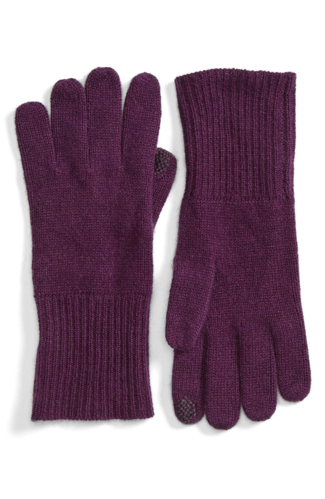 Main Image - Halogen® Rib Knit Cashmere Gloves