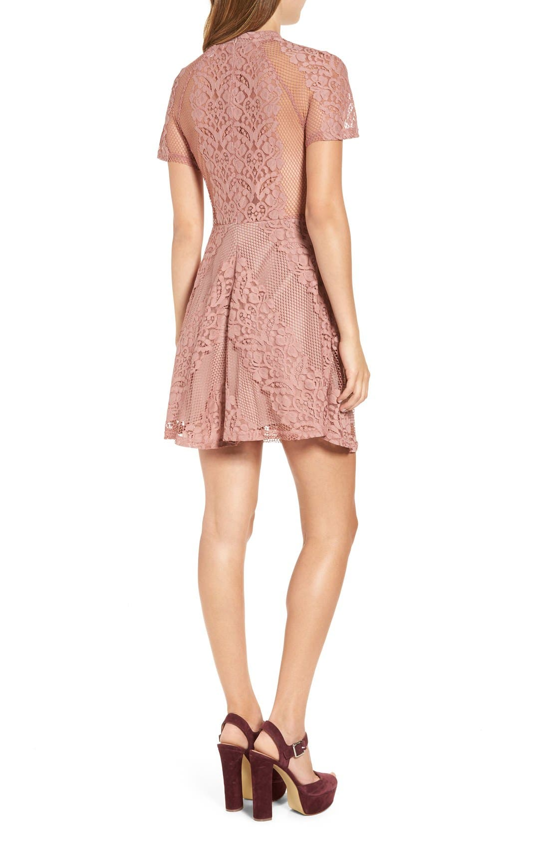 Alternate Image 2  - Glamorous Lace & Mesh Overlay Fit and Flare Dress