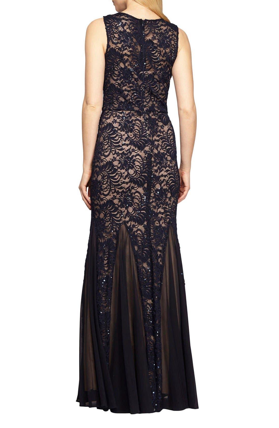 Alternate Image 2  - Alex Evenings Sequin Lace Mermaid Gown & Shawl (Regular & Petite)