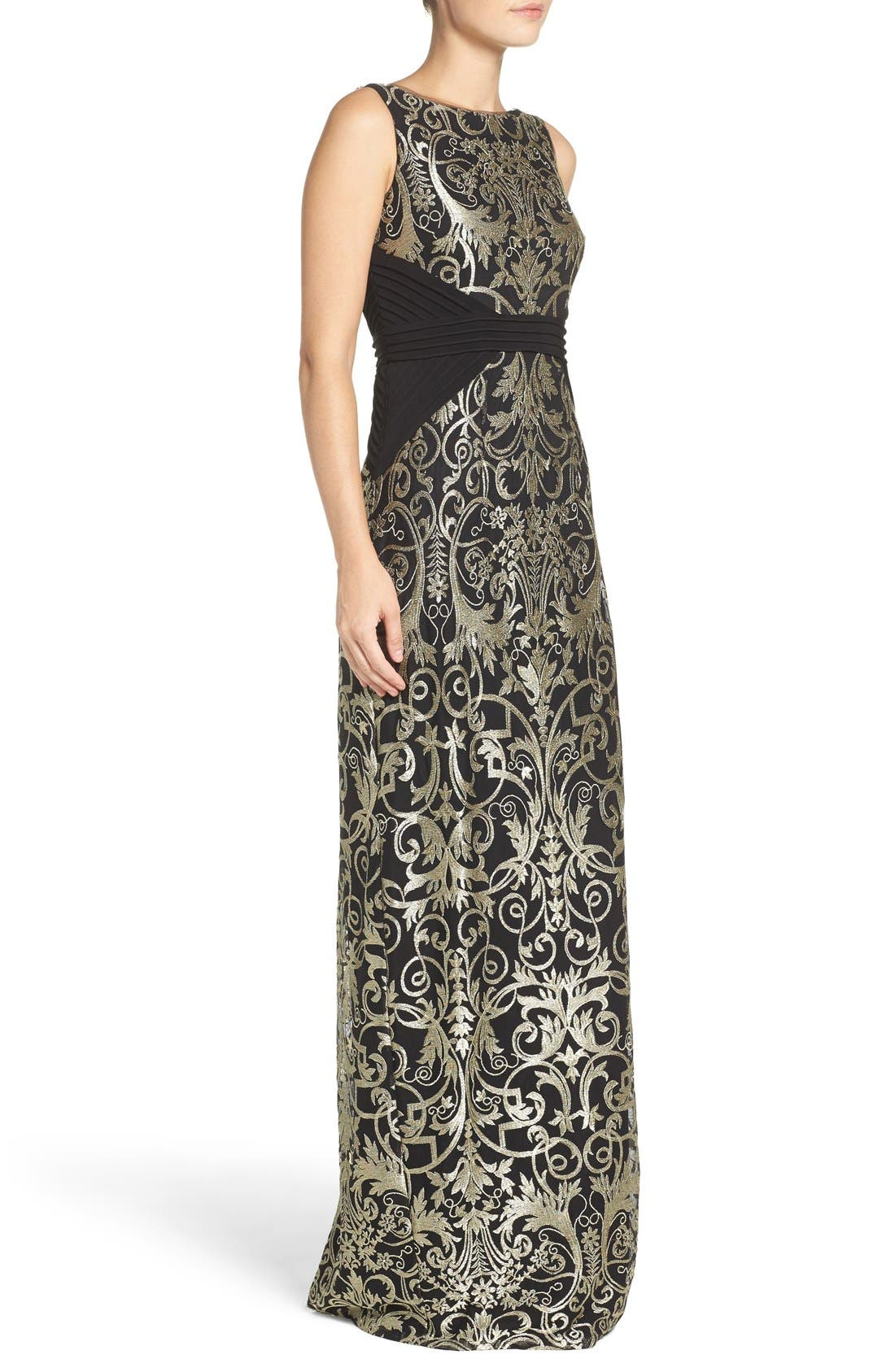 Alternate Image 3  - Adrianna Papell Embroidered Jersey Column Gown