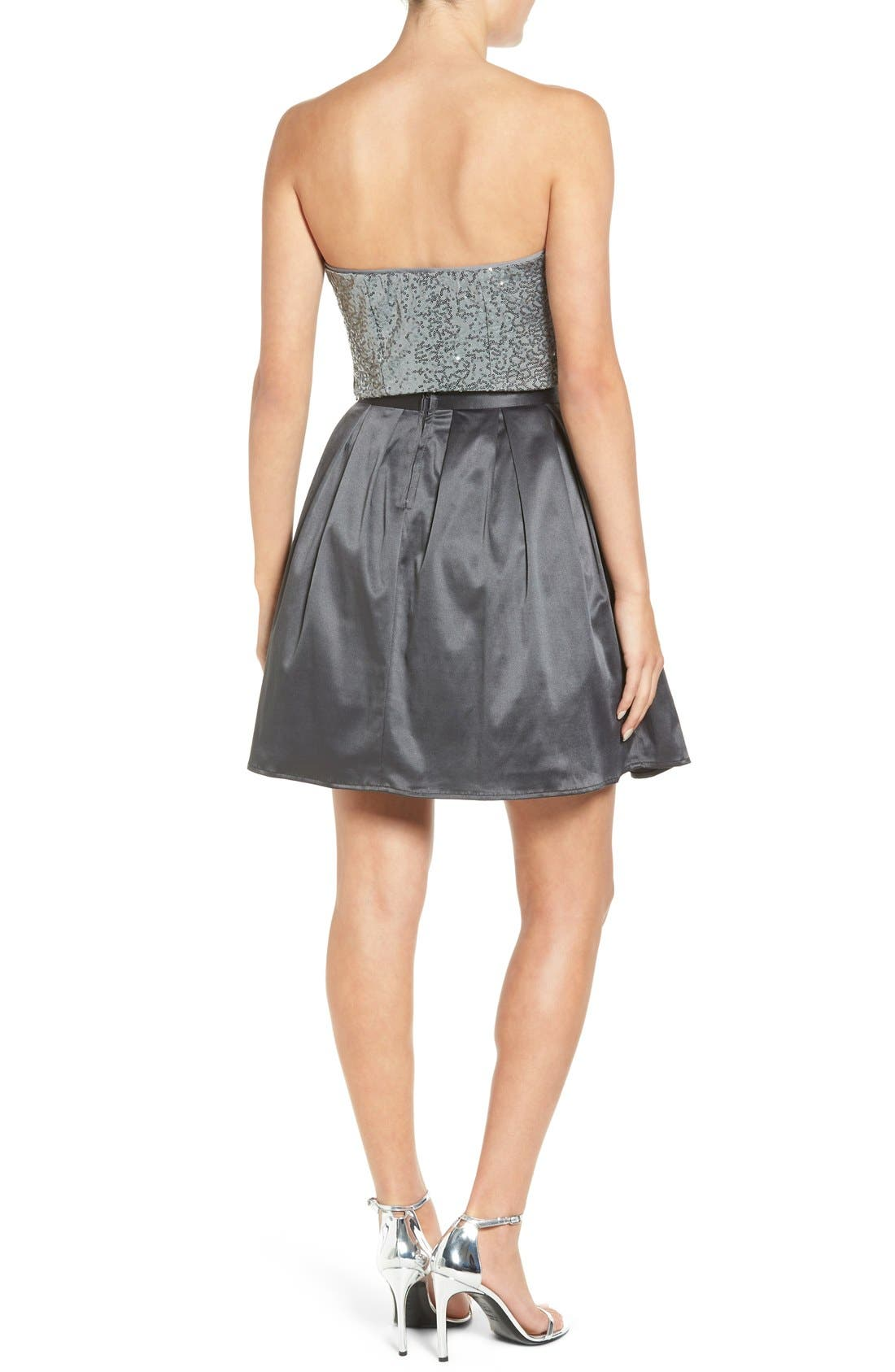 Alternate Image 2  - Love, Nickie Lew Two-Piece Strapless Sequin Skater Dress