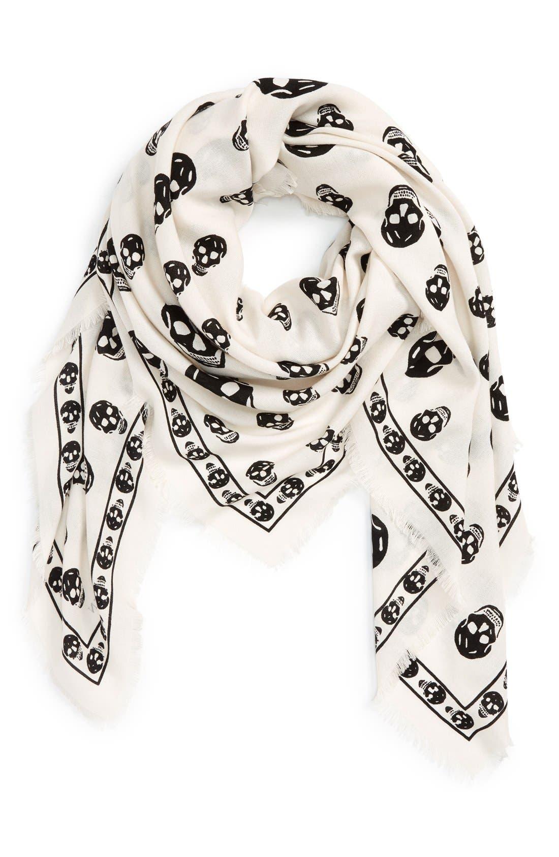 Alternate Image 1 Selected - Alexander McQueen Skull Print Wool & Silk Scarf