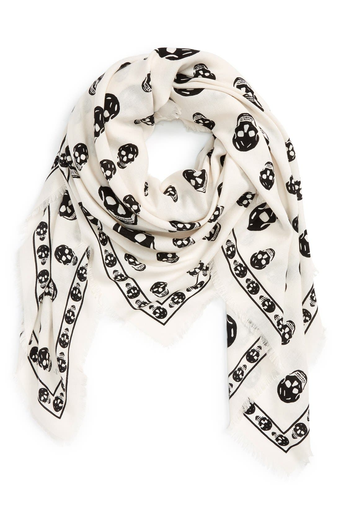 Main Image - Alexander McQueen Skull Print Wool & Silk Scarf