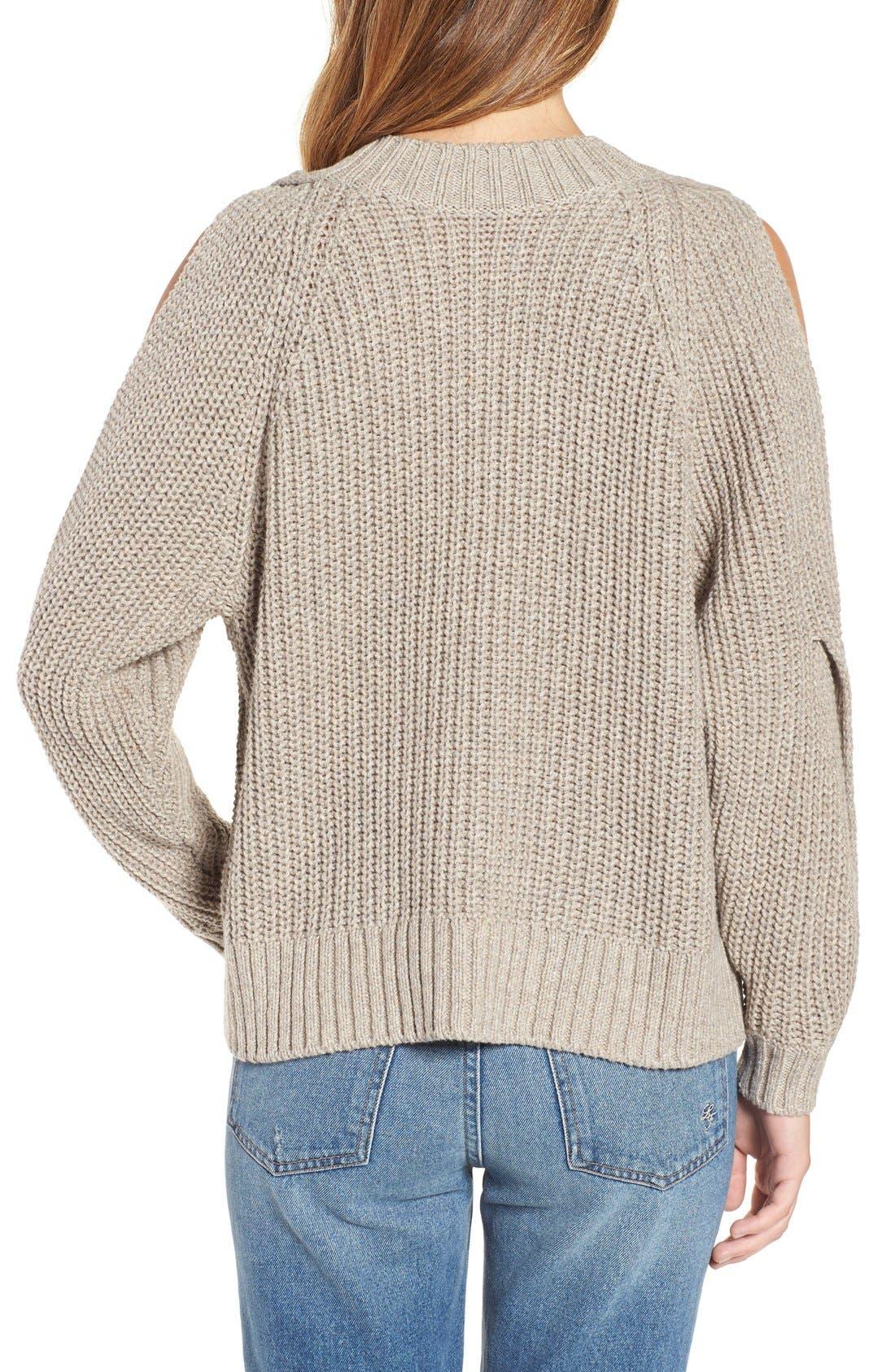 Alternate Image 2  - Leith Ribbed Cold Shoulder Sweater