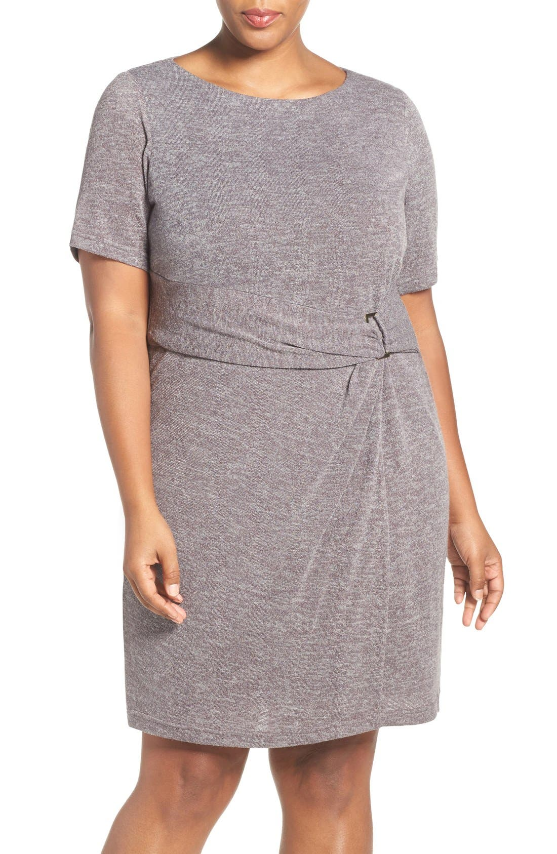 ELLEN TRACY Buckle Detail Knit Sheath Dress