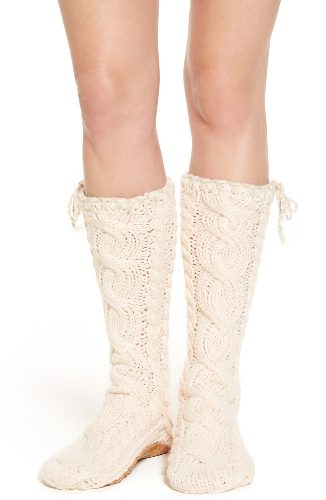 Main Image - Lemon 'Arctic' Cable Knit Knee High Slippers