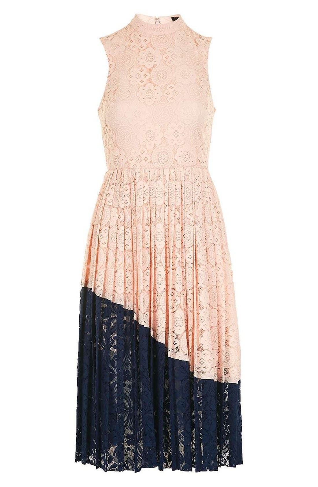Alternate Image 3  - Topshop Colorblock Pleated Lace Midi Dress