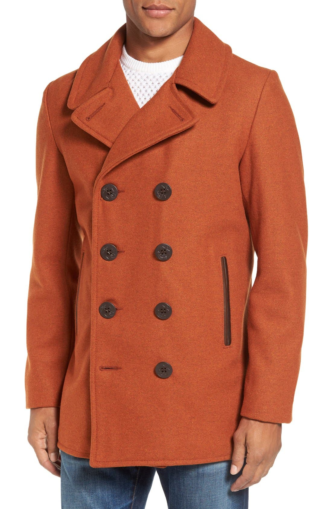 Alternate Image 1 Selected - Schott NYC Slim Fit Wool Blend Peacoat
