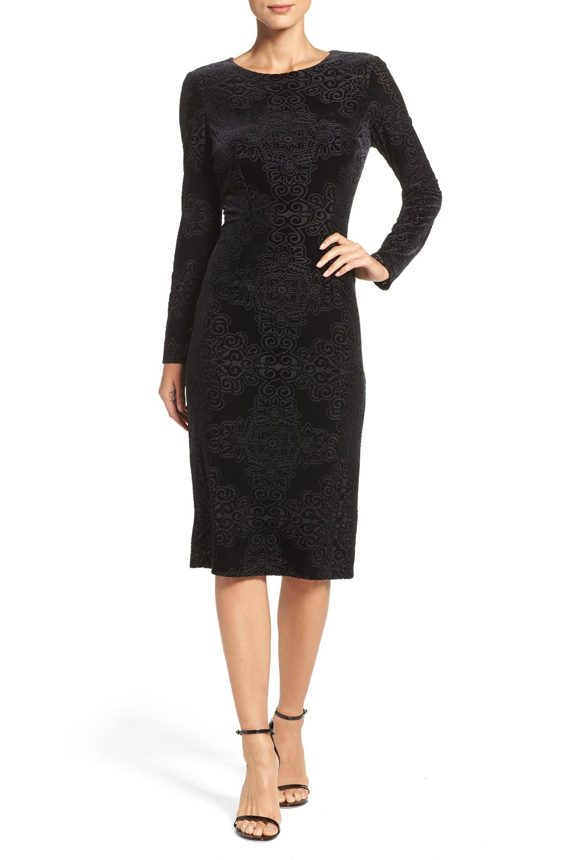 Main Image - Maggy London Burnout Velvet Sheath Dress (Regular & Petite)