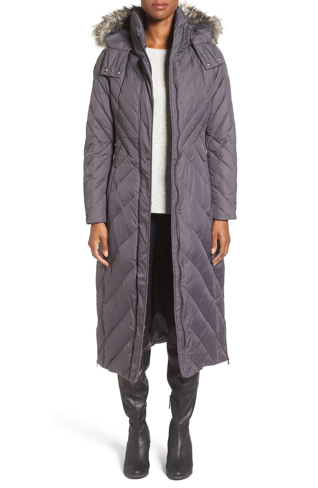 Main Image - Larry Levine Down & Feather Fill Maxi Coat with Faux Fur Trim Hood