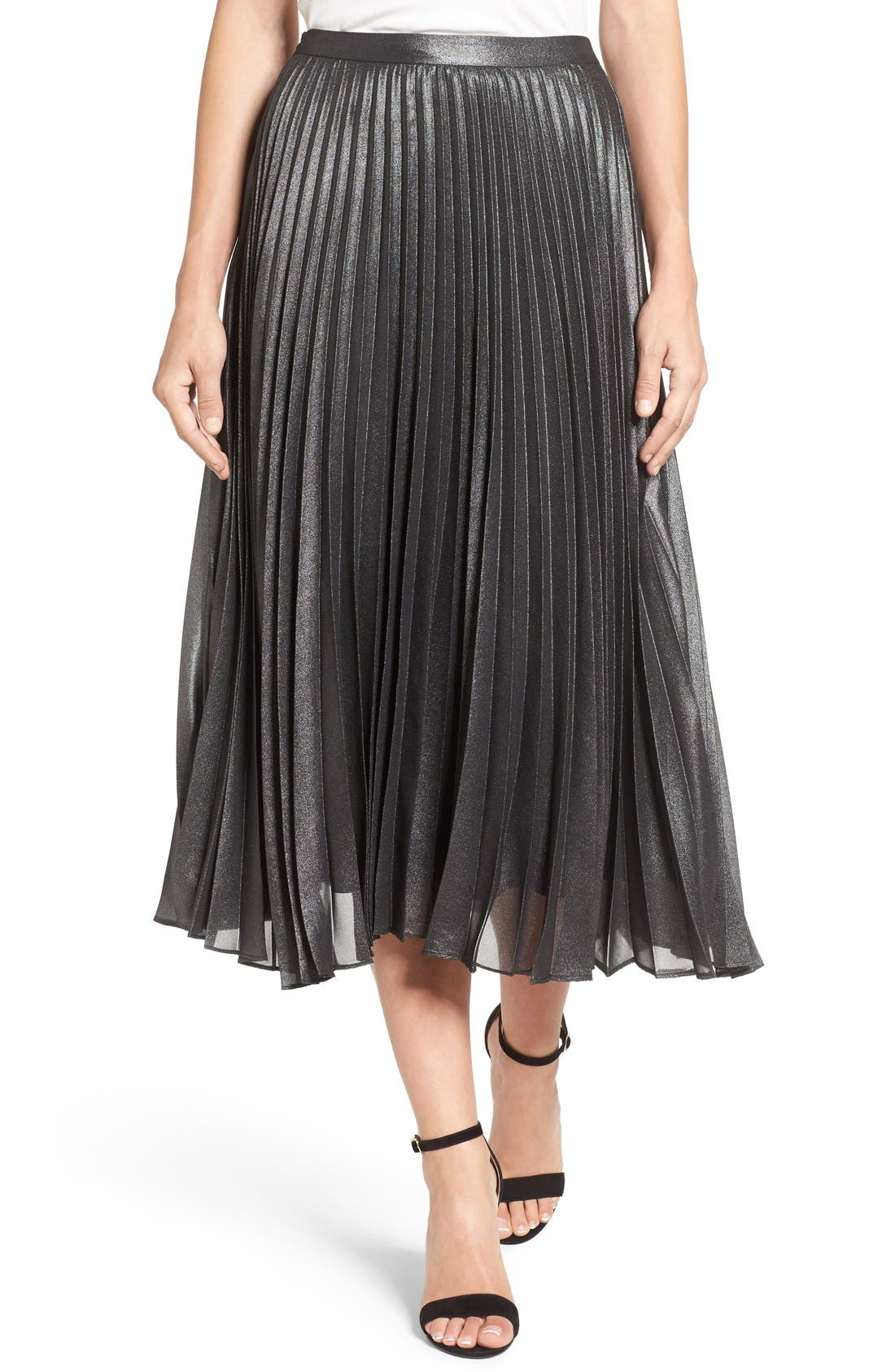 Main Image - Halogen® Pleated Lurex® Midi Skirt (Regular & Petite)