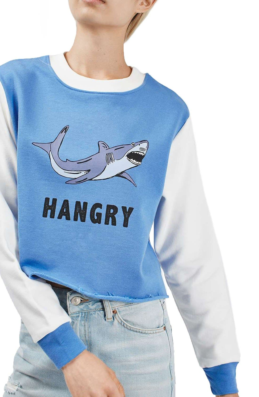 Alternate Image 4  - Topshop by Tee & Cake 'Hangry' Graphic Crop Colorblock Sweatshirt
