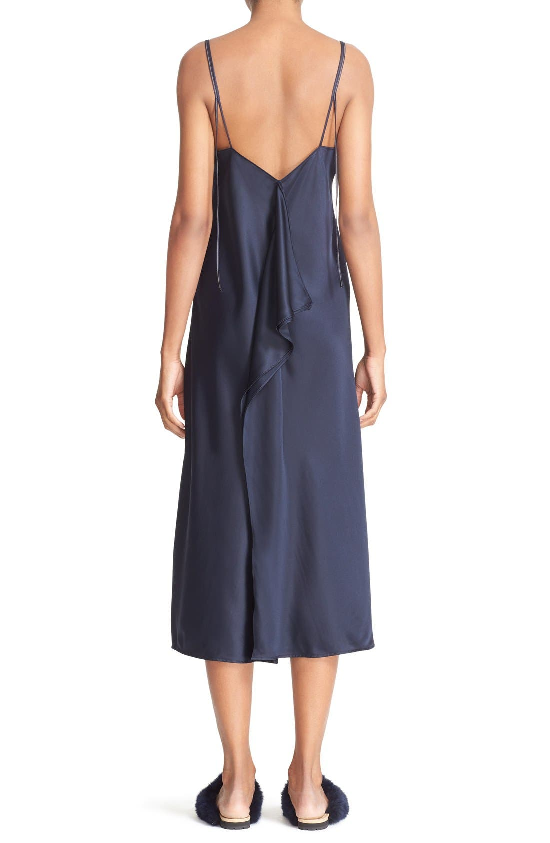 Alternate Image 4  - Helmut Lang Drape Back Silk Satin Dress