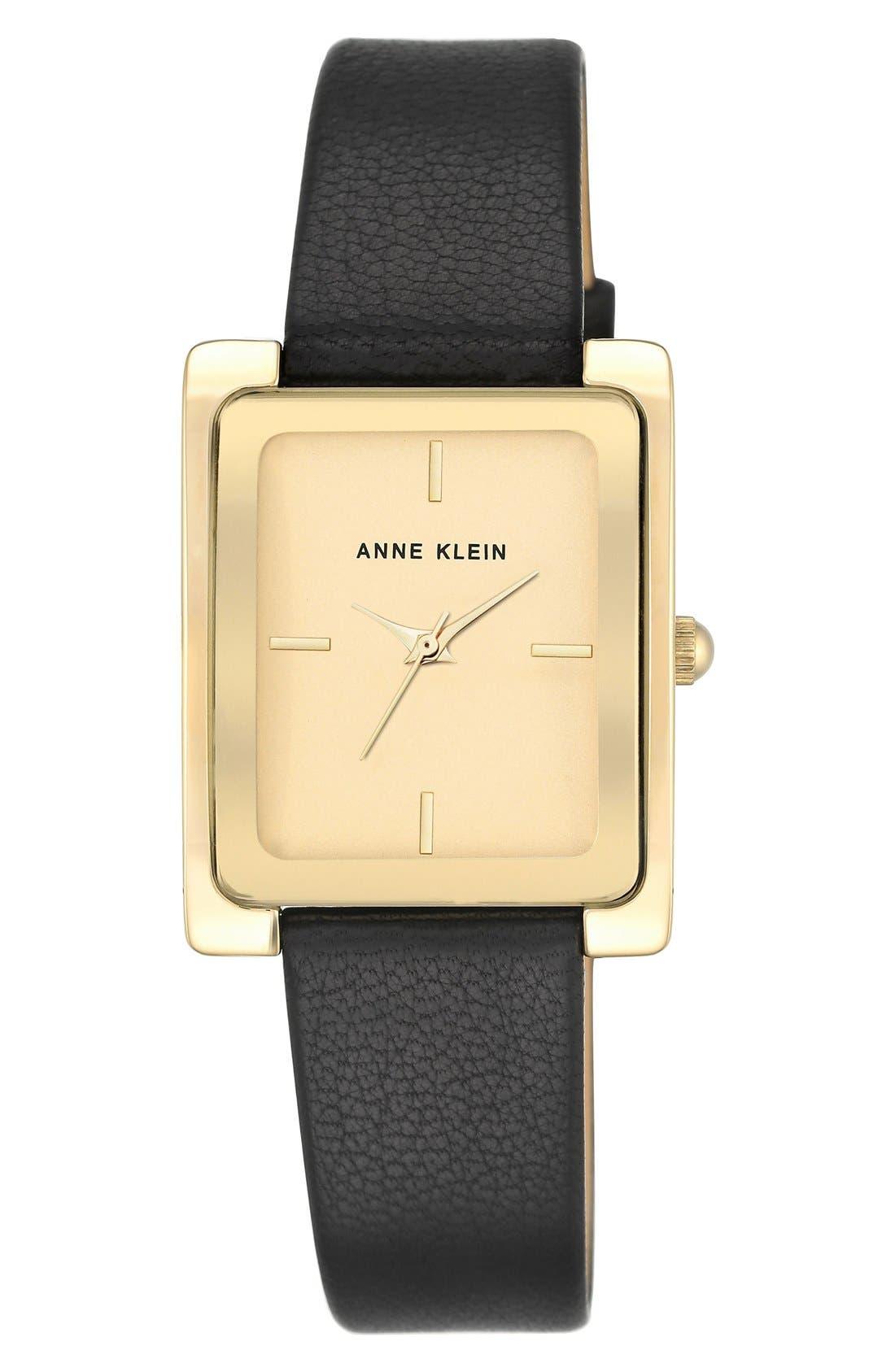 Main Image - Anne Klein Rectangular Leather Strap Watch, 28mm x 35mm
