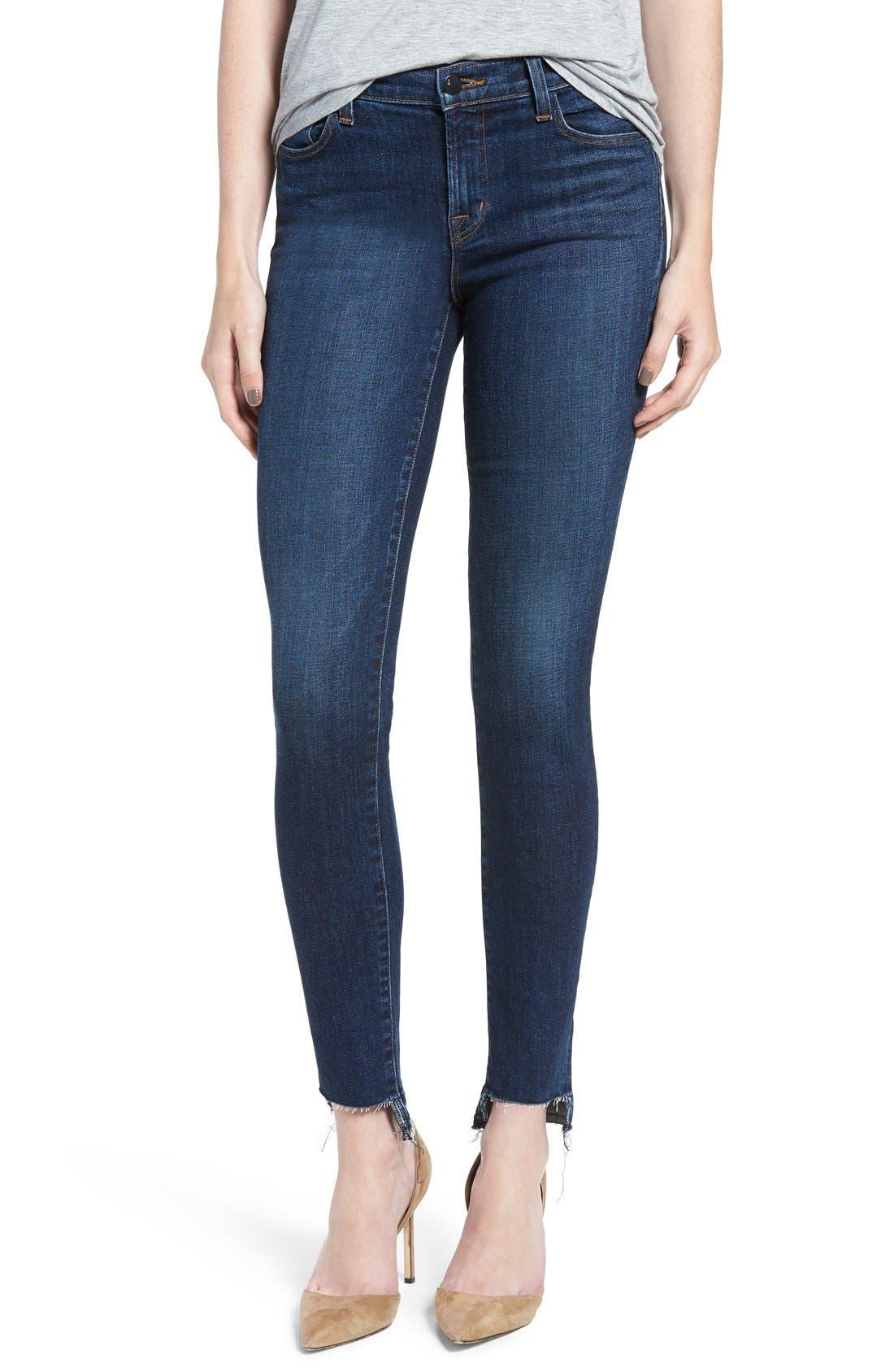 J Brand '811' Cutoff Step Hem Skinny Jeans (Mesmeric)