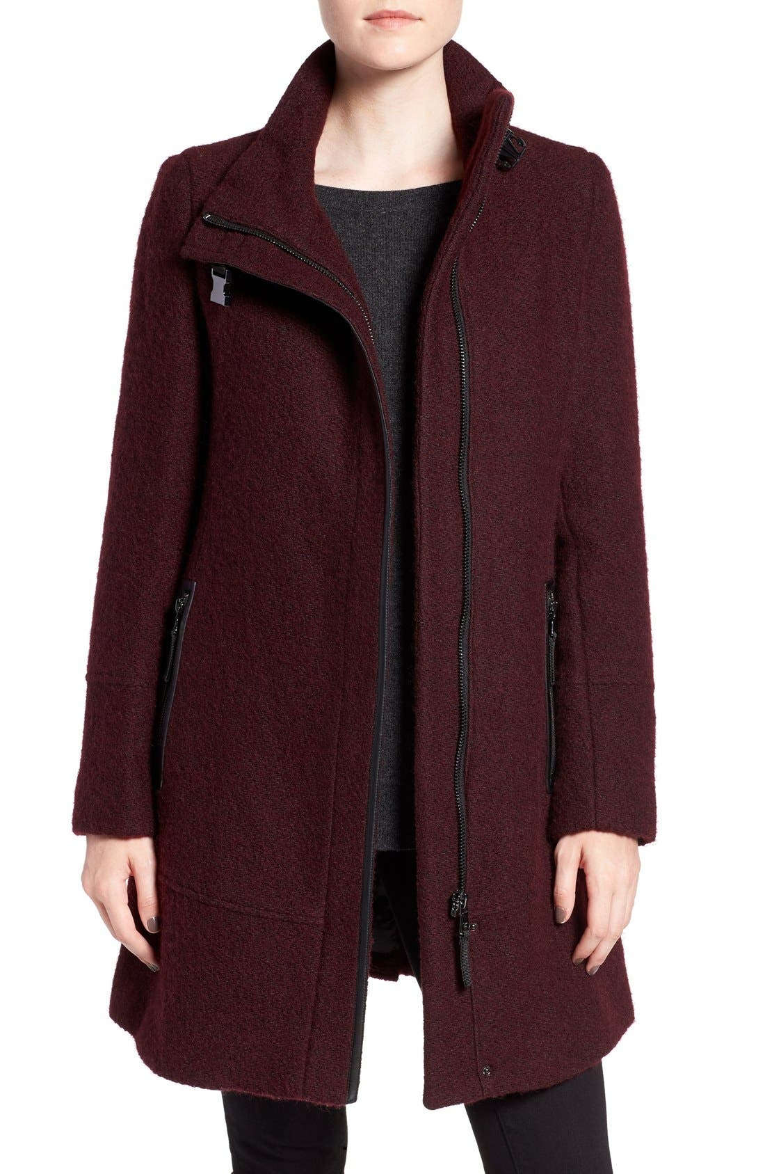 Main Image - Calvin Klein Wool Blend Bouclé Walking Jacket (Regular & Petite)