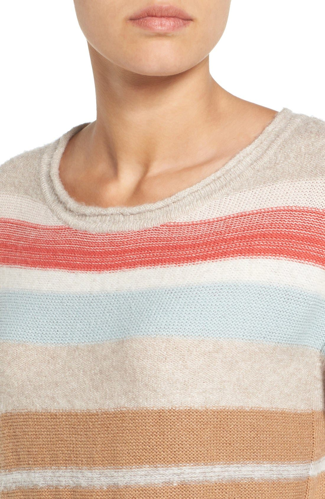 Alternate Image 4  - Caslon® Back Button Stripe Knit Sweater (Regular & Petite)