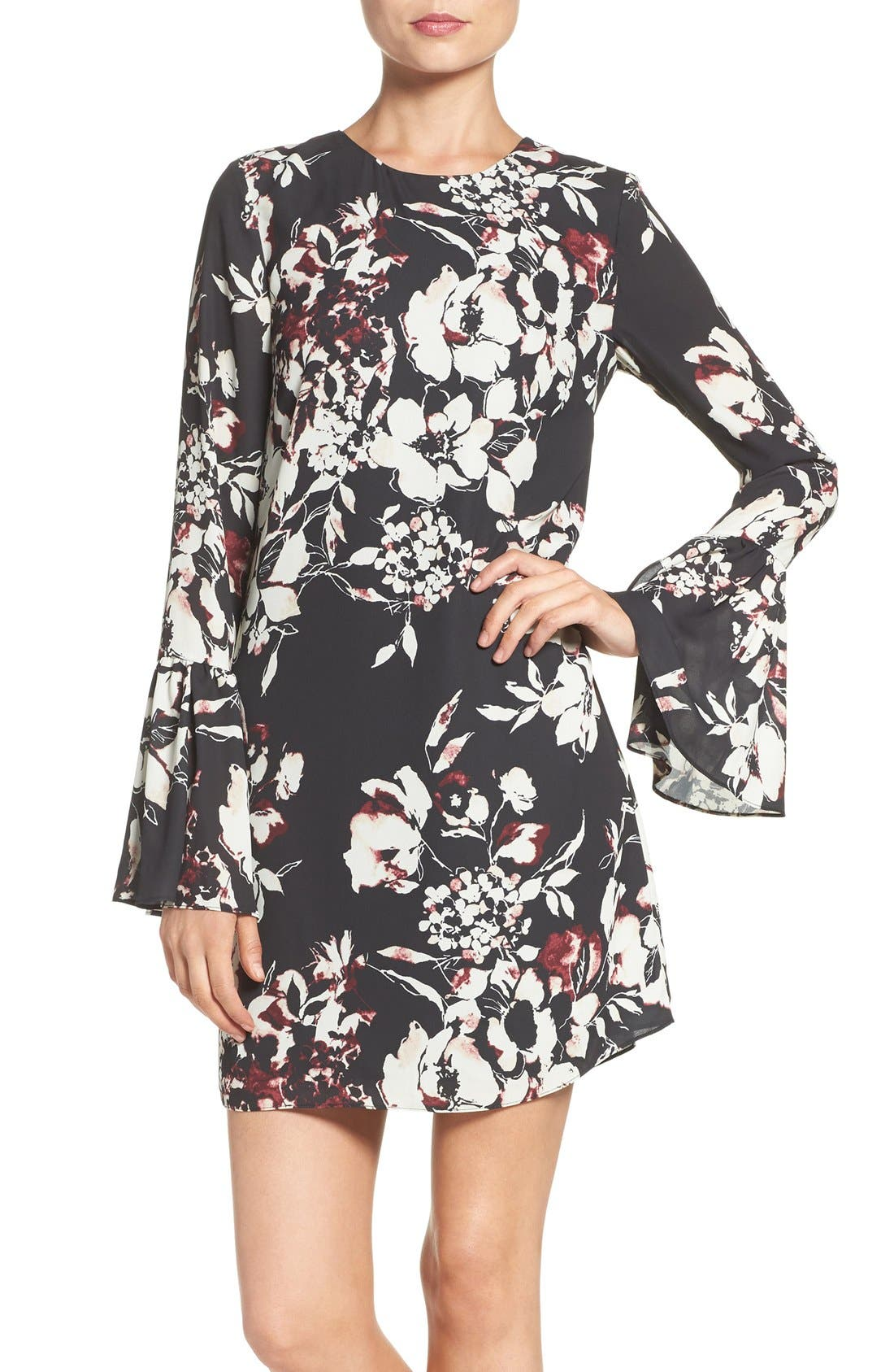 ALI & JAY Bell Sleeve Floral Sheath Dress