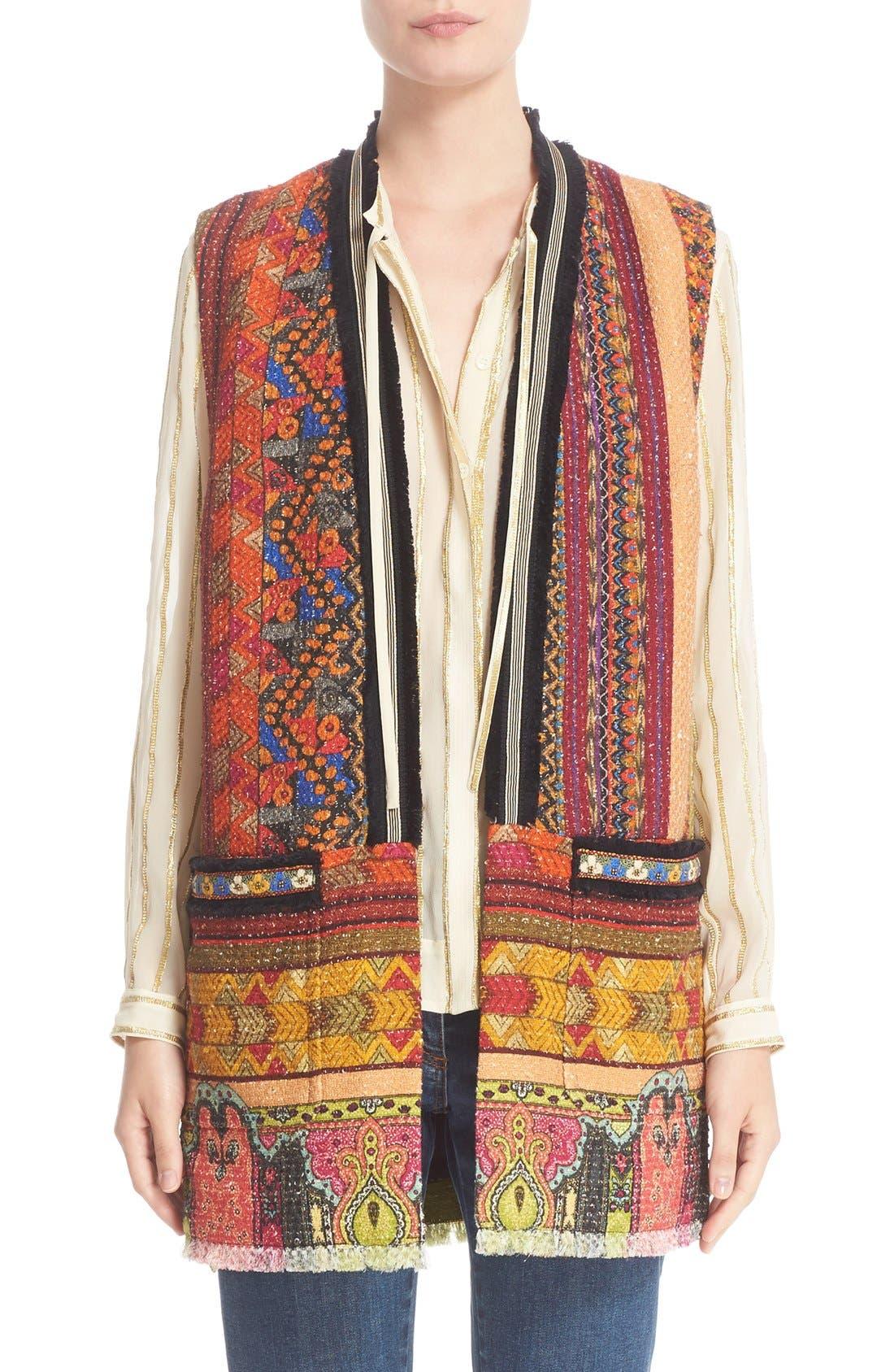 Alternate Image 1 Selected - Etro Ribbon Print Cotton Blend Vest