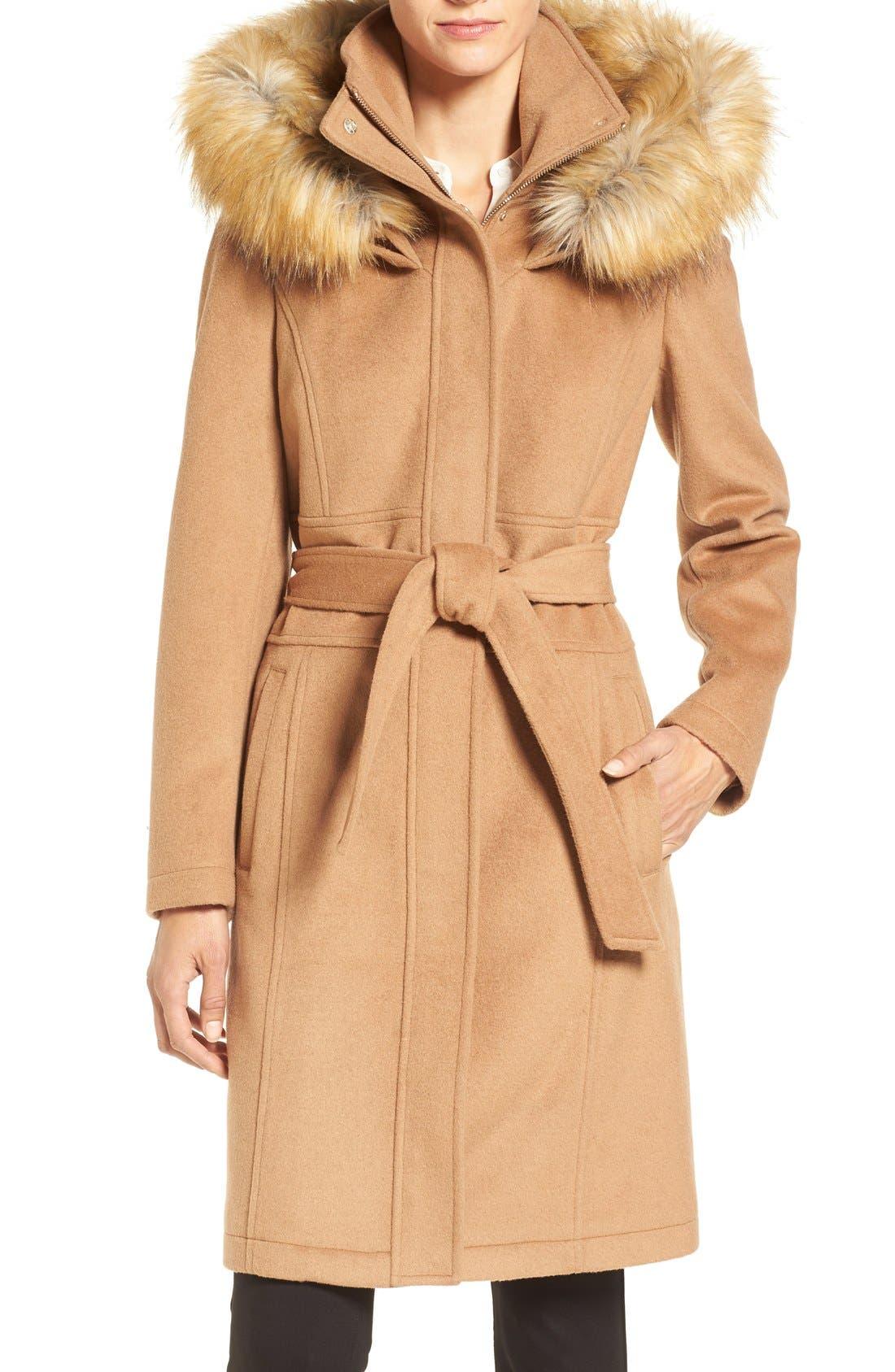 Main Image - Ivanka Trump Wool Blend Coat with Removable Faux Fur Trim Hood