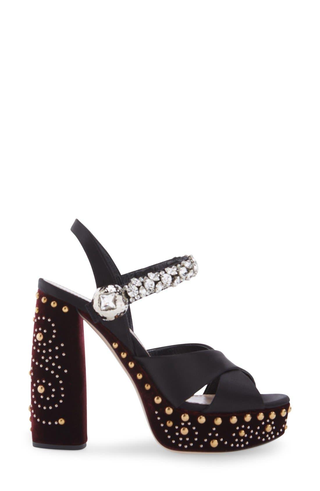 Alternate Image 4  - Miu Miu Embellished Platform Sandal (Women)