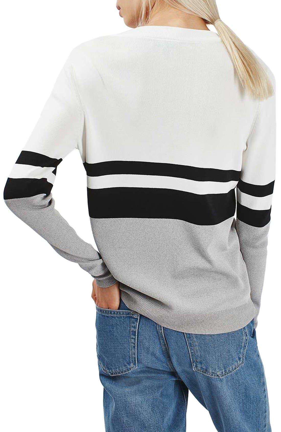 Alternate Image 2  - Topshop Sporty Stripe Sweater
