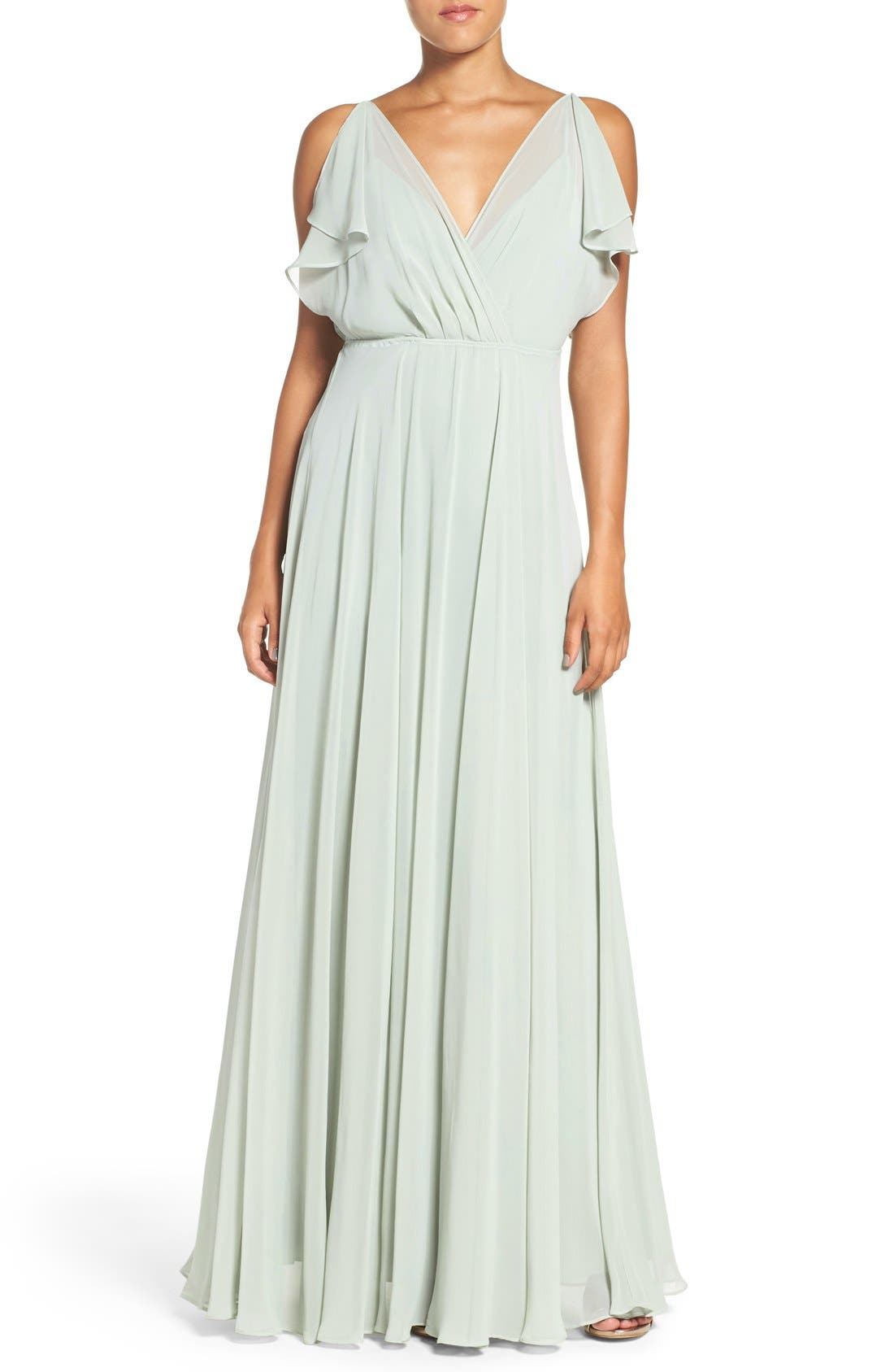 JENNY YOO 'Cassie' Flutter Sleeve Chiffon A-Line Gown