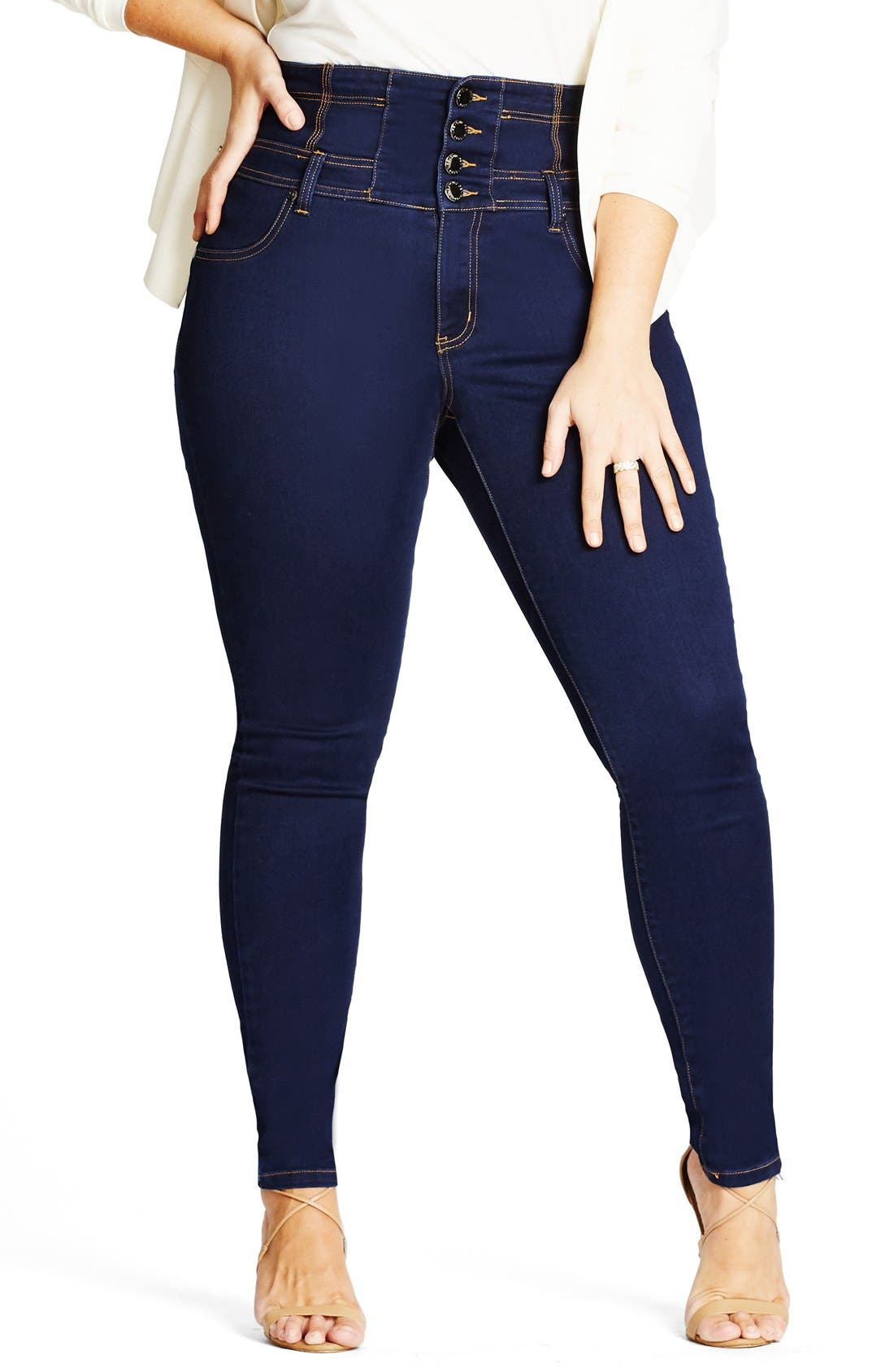 Alternate Image 1 Selected - City Chic Harley Corset Waist Stretch Skinny Jeans (Plus Size)