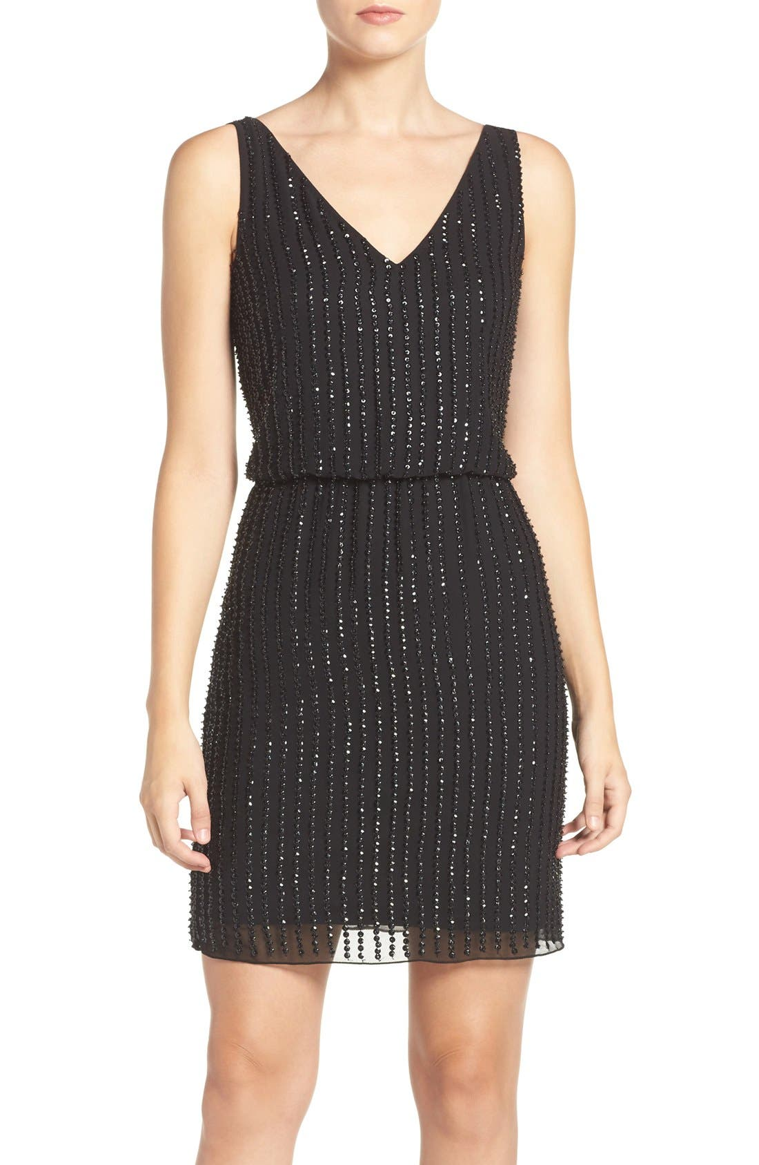 ADRIANNA PAPELL Embellished Mesh Blouson Dress