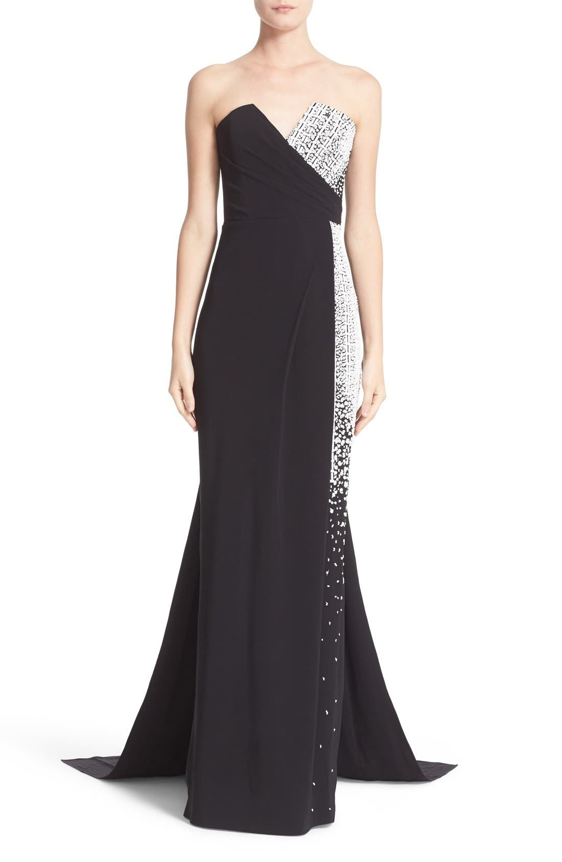 PAMELLA ROLAND Embellished Strapless Crepe Gown with Draped
