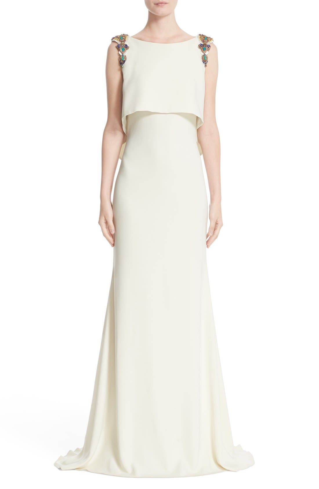 BADGLEY MISCHKA COUTURE. Badgley Mischka Embellished Shoulder