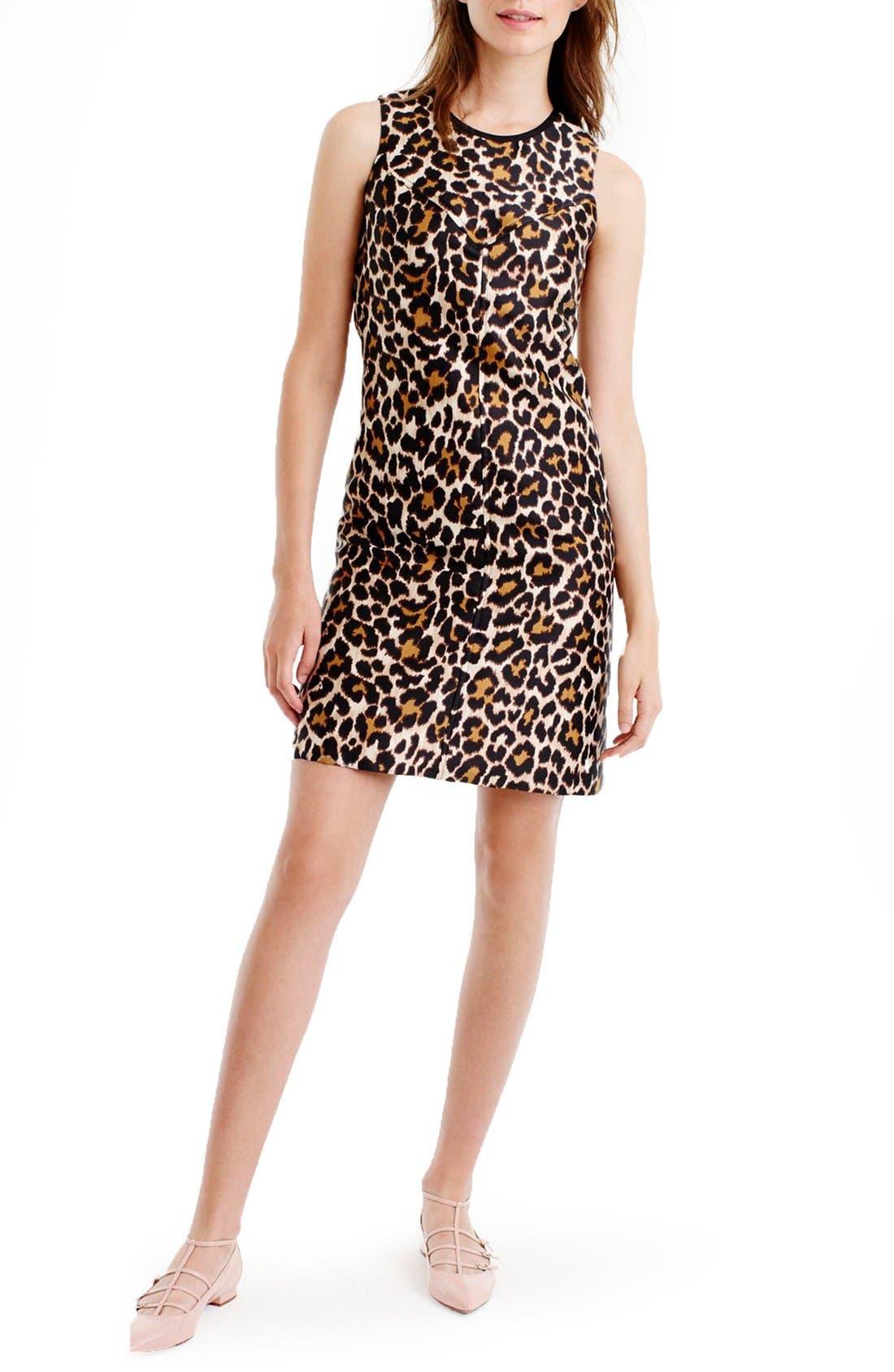 Main Image - J.Crew Leopard Print Shift Dress (Regular & Petite)