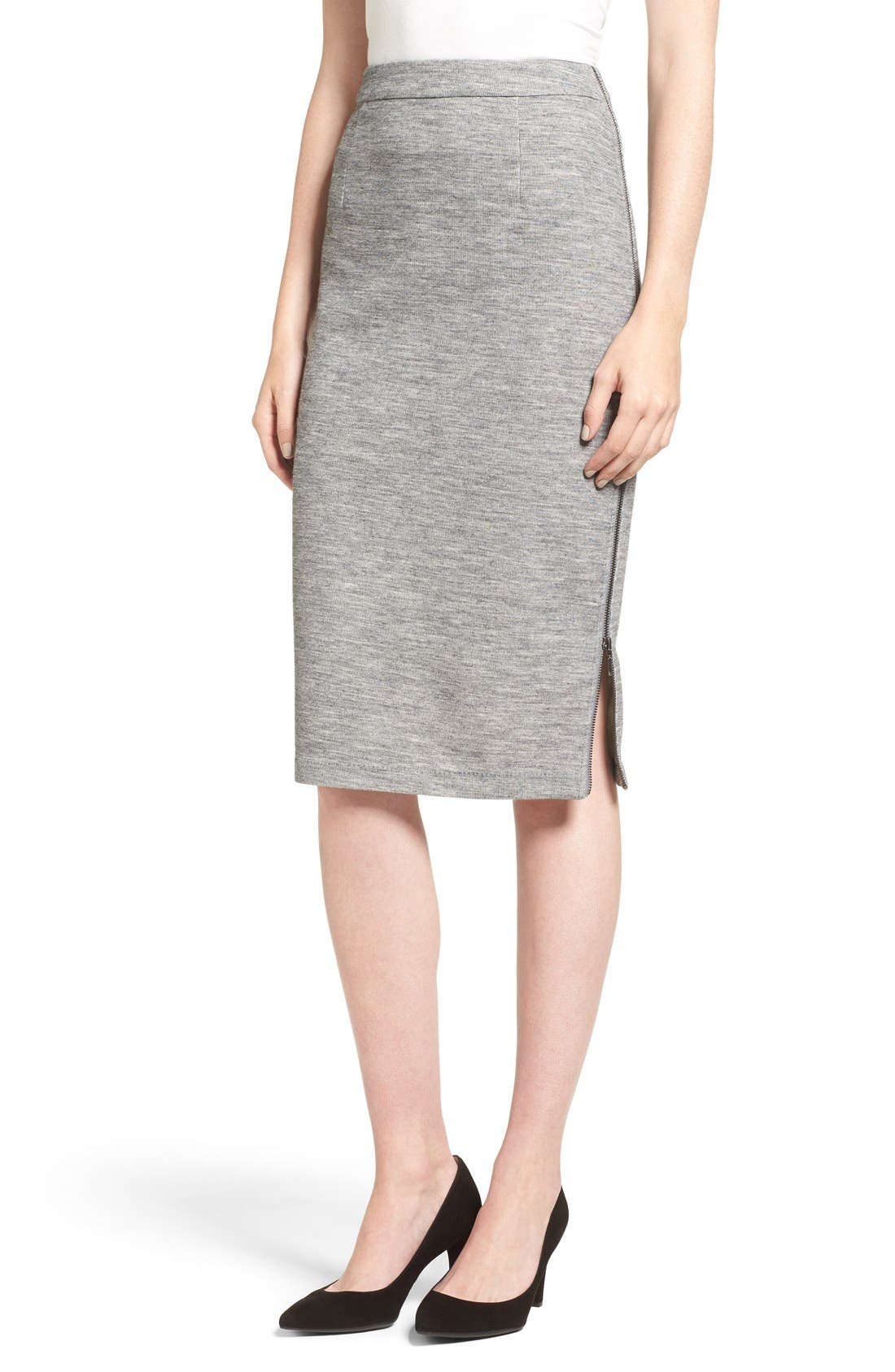 Main Image - Halogen® Side Zip Pencil Skirt (Regular & Petite)