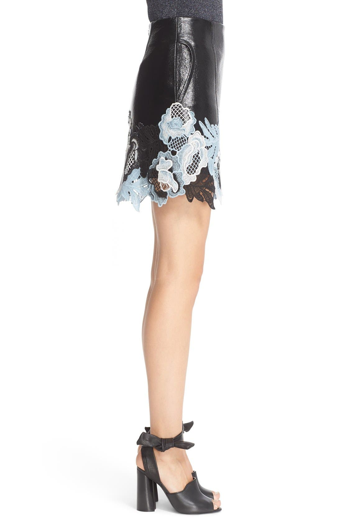 Alternate Image 4  - 3.1 Phillip Lim Lace Trim Crinkle Patent Vinyl Skirt