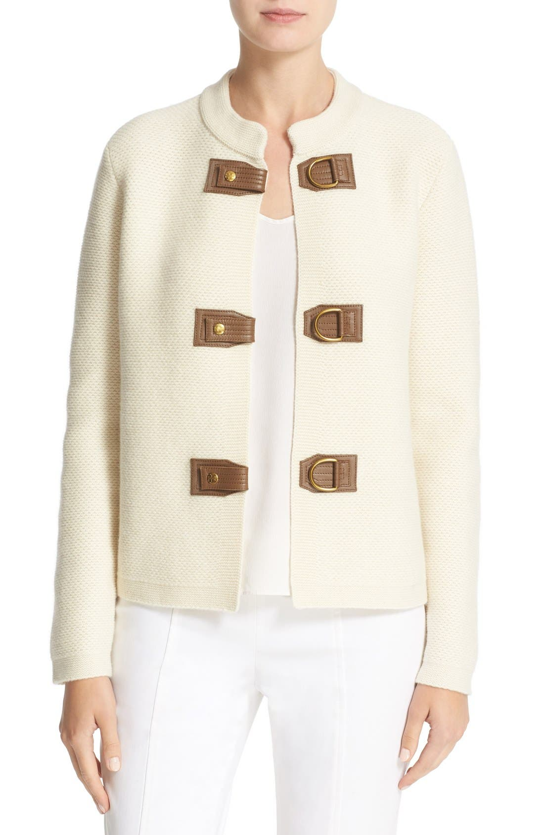 Main Image - Tory Burch 'Ross' Leather Tab Merino Wool Cardigan