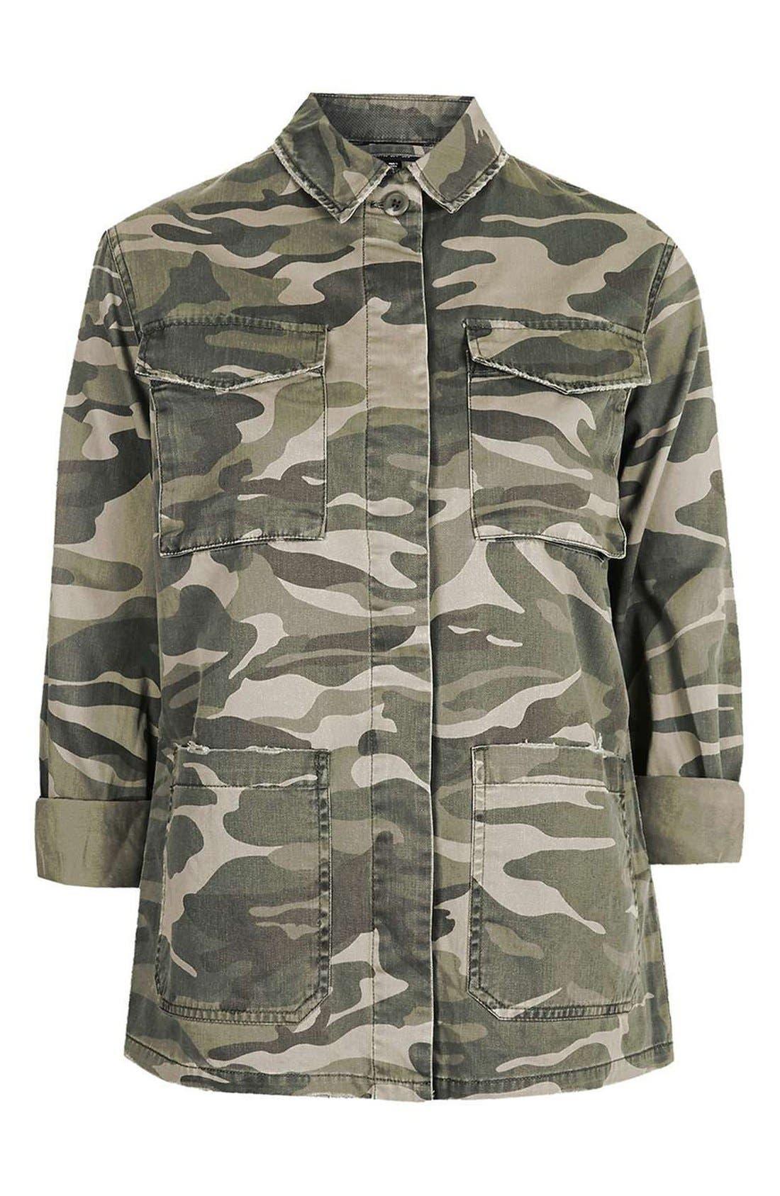 Alternate Image 4  - Topshop 'Sarge' Camo Shirt Jacket