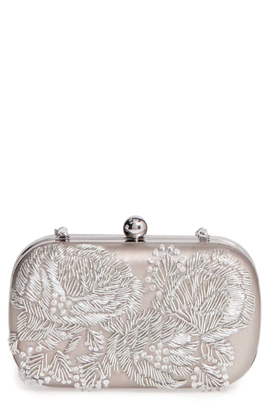 Main Image - La Regale Floral Metallic Embroidered Clutch