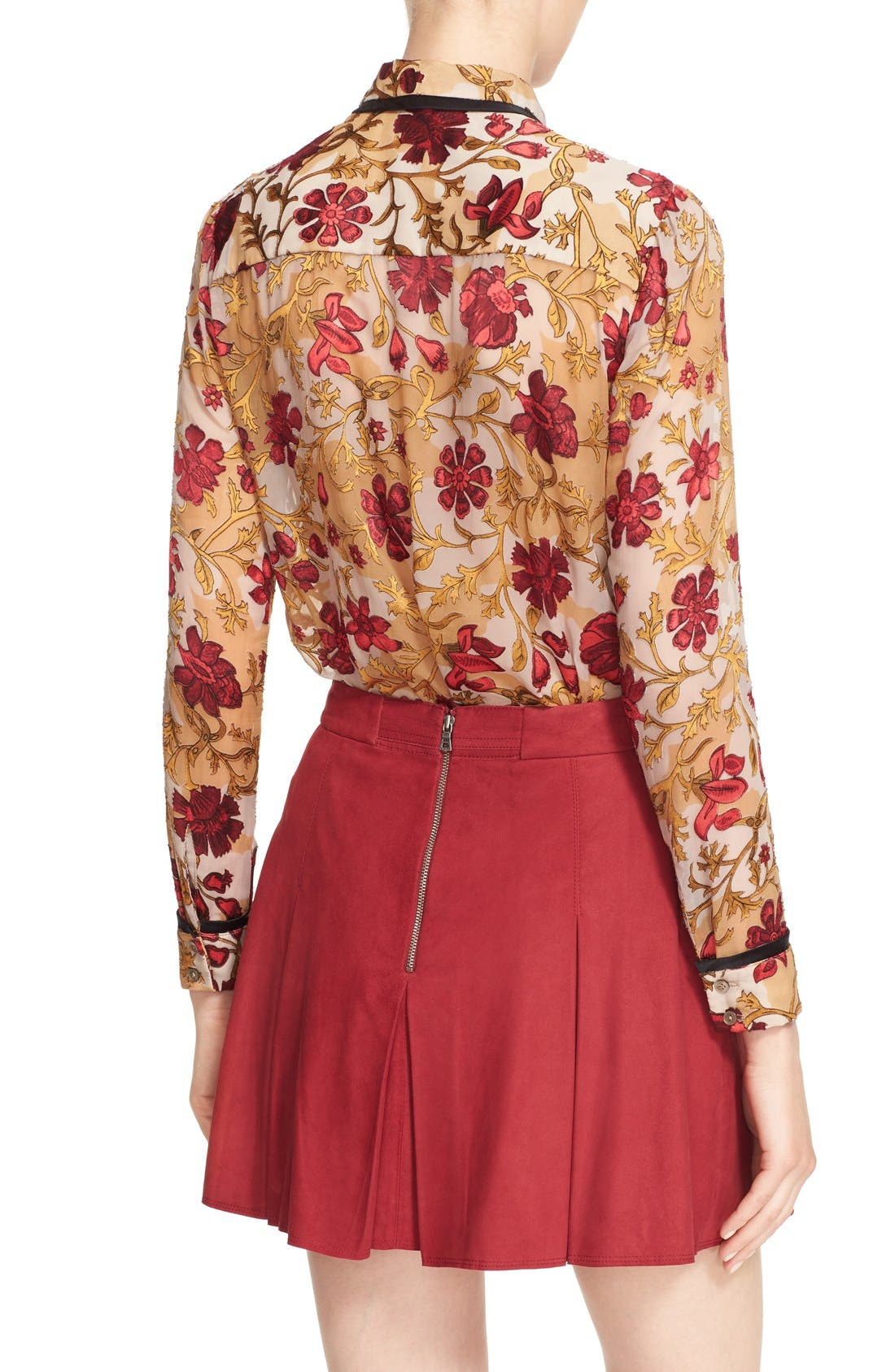 Alternate Image 2  - Alice + Olivia 'Cora' Print Contrast Trim Tie Neck Blouse