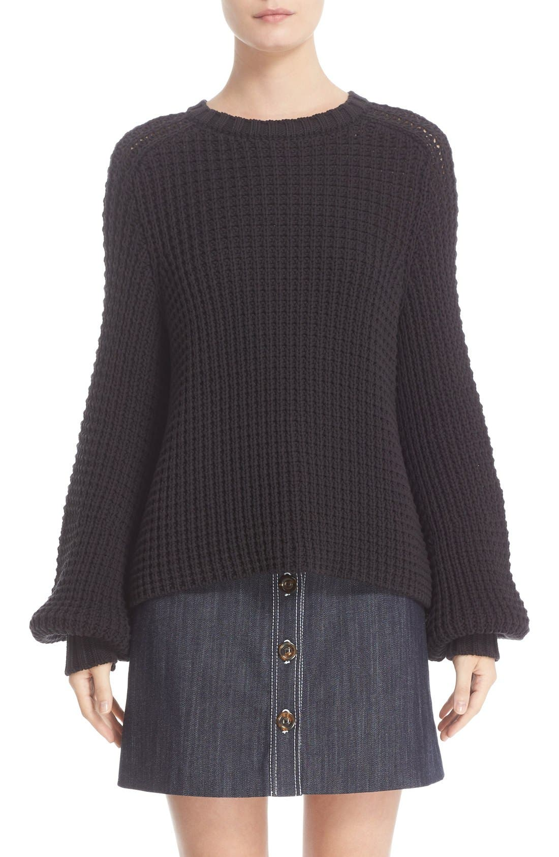 ADAM LIPPES Cotton Blend Knit Sweater