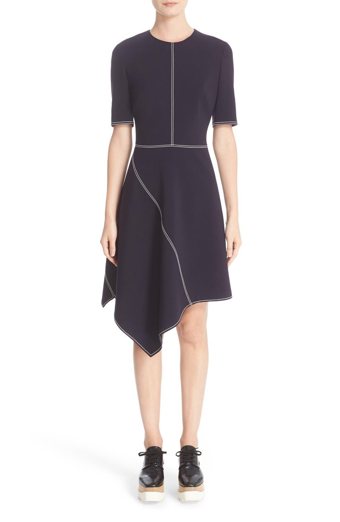 Alternate Image 1 Selected - Stella McCartney Topstitch Asymmetrical Dress