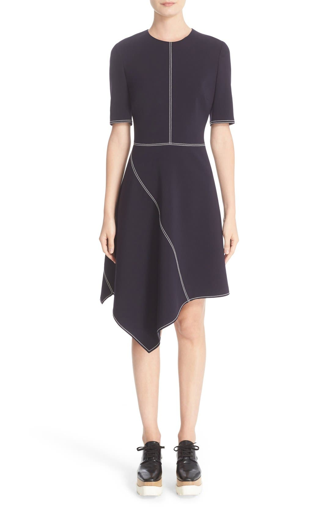 Stella McCartney Topstitch Asymmetrical Dress