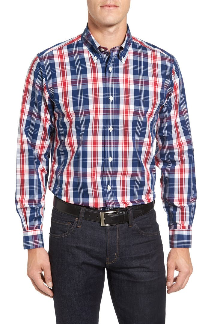 Brooks brothers no iron broadcloth plaid sport shirt for Brooks brothers sports shirts